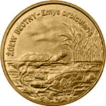Image of 2 zloty coin – Emys orbicularis | Poland 2002.  The Nordic gold (CuZnAl) coin is of UNC quality.