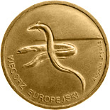 Image of European Eel – 2 zloty coin Poland 2003.  The Nordic gold (CuZnAl) coin is of UNC quality.