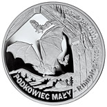 Image of Lesser horseshoe bat – 20 zloty coin Poland 2010.  The Silver coin is of Proof quality.