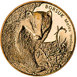 Image of 2 zloty coin – European Badger | Poland 2011.  The Nordic gold (CuZnAl) coin is of UNC quality.