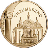 Image of Trzemeszno – 2 zloty coin Poland 2010.  The Nordic gold (CuZnAl) coin is of UNC quality.