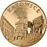 Image of 2 zloty coin – Katowice | Poland 2010.  The Nordic gold (CuZnAl) coin is of UNC quality.