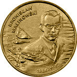 Image of Bronisław Malinowski (1884-1942) – 2 zloty coin Poland 2002.  The Nordic gold (CuZnAl) coin is of UNC quality.