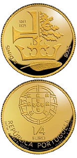 Image of 0.25 euro coin – D. Dunis | Portugal 2008.  The Gold coin is of BU quality.