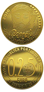 Image of Luís Vaz de Camões  – 0.25 euro coin Portugal 2010.  The Gold coin is of BU quality.