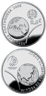 Image of XXIX. Summer Olympics in Beijing – 2.5 euro coin Portugal 2008.  The Silver coin is of Proof, BU, UNC quality.