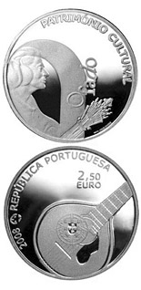 Image of Fado – 2.5 euro coin Portugal 2008.  The Silver coin is of Proof, UNC quality.