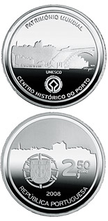 Image of 2.5 euro coin – Historic Centre of Porto | Portugal 2008