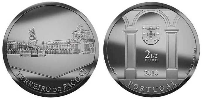 Image of 2.5 euro coin – Terreiro do Paço | Portugal 2010.  The Silver coin is of Proof, UNC quality.