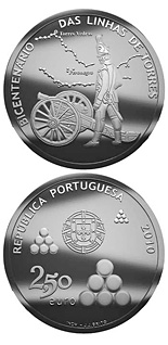 2.5 euro coin Bicentennary of the Torres Lines | Portugal 2010
