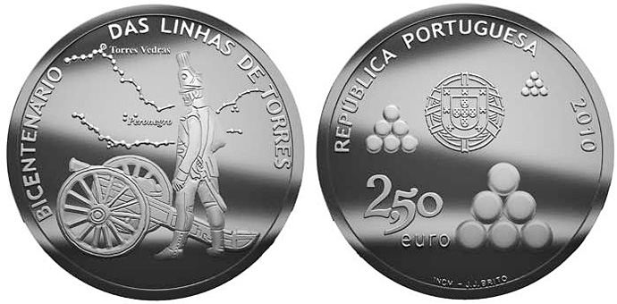 Image of Bicentennary of the Torres Lines – 2.5 euro coin Portugal 2010.  The Silver coin is of Proof, BU, UNC quality.
