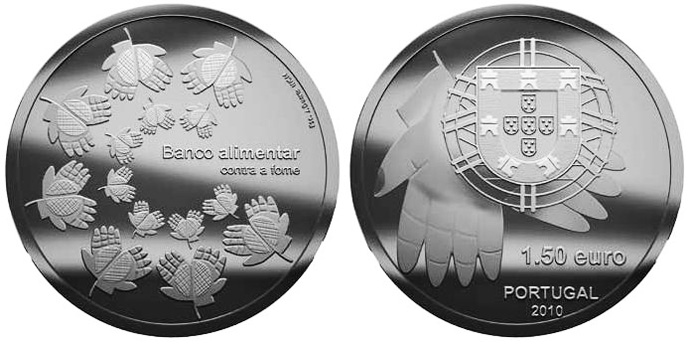 Image of One Coin One Reason – One Coin Against Hunger – 1.5 euro coin Portugal 2010.  The Silver coin is of Proof, BU, UNC quality.