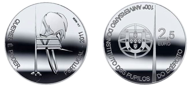 Image of 2.5 euro coin – Centenary of the Pupils of the Army | Portugal 2011.  The Silver coin is of Proof, BU, UNC quality.