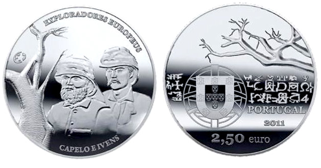 Image of 2.5 euro coin - European Explorers: Hermenegildo Capelo and Roberto Ivens | Portugal 2011.  The Silver coin is of Proof, UNC quality.