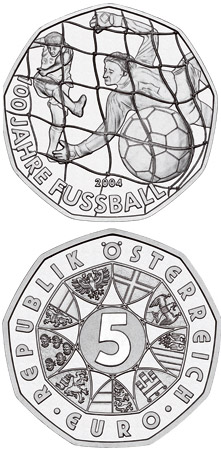 5 euro 100 Years Football  - 2004 - Series: Silver 5 euro coins - Austria