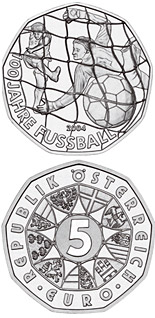 Image of 5 euro coin – 100 Years Football  | Austria 2004.  The Silver coin is of BU, UNC quality.