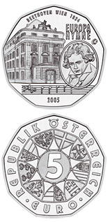 Image of 5 euro coin – The European Anthem-Ludwig van Beethoven  | Austria 2005.  The Silver coin is of BU, UNC quality.