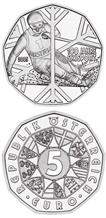 Image of 5 euro coin – 100 Years of Skiing  | Austria 2005.  The Silver coin is of BU, UNC quality.
