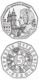 5  coin 250th Birthday Wolfgang Amadeus Mozart  | Austria 2006