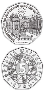 Image of 5 euro coin - EU Presidency  | Austria 2006.  The Silver coin is of BU, UNC quality.