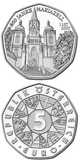 Image of 5 euro coin - Mariazell | Austria 2007.  The Silver coin is of BU, UNC quality.
