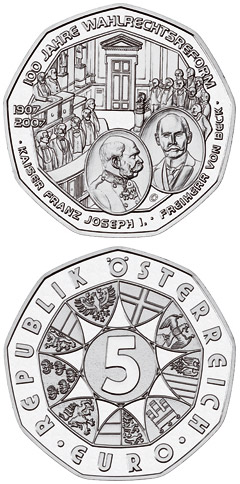 5 euro 100 Years Universal Male Suffrage  - 2007 - Series: Silver 5 euro coins - Austria