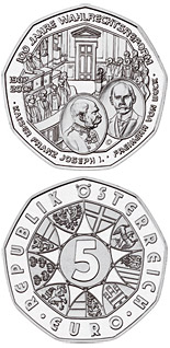 Image of 5 euro coin – 100 Years Universal Male Suffrage  | Austria 2007.  The Silver coin is of BU, UNC quality.