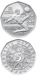 Image of 5 euro coin Soccer Coin 1 | Austria 2008.  The Silver coin is of BU, UNC quality.