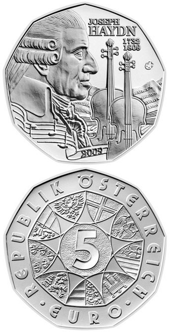 5 euro 200th Anniversiary of the Death of Joseph Haydn - 2009 - Series: Silver 5 euro coins - Austria