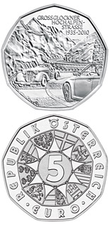 5 euro coin 75 years Grossglockner Alpine Road | Austria 2010