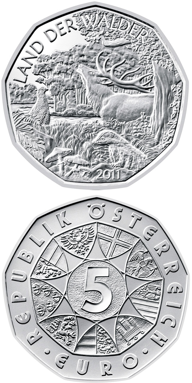 Image of 5 euro coin – Land of forests | Austria 2011.  The Silver coin is of BU, UNC quality.