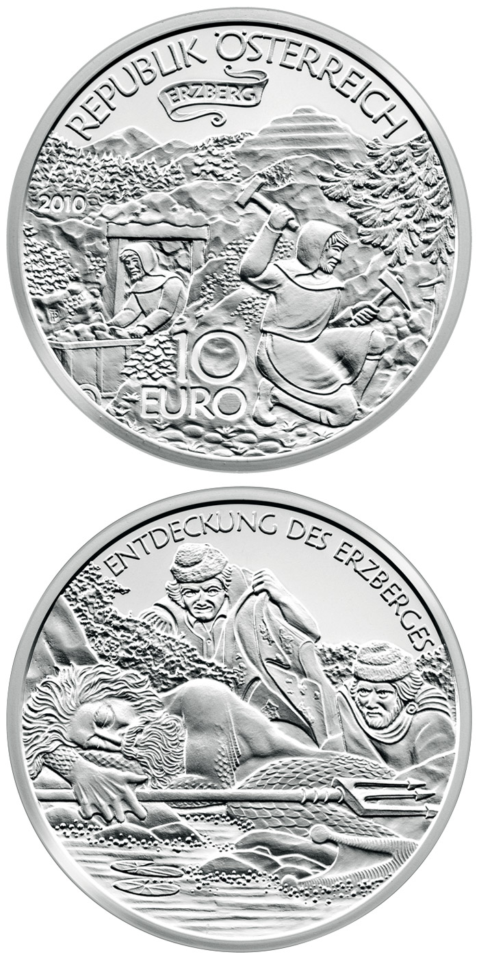 Image of 10 euro coin - The Erzberg in Styria | Austria 2010.  The Silver coin is of Proof quality.