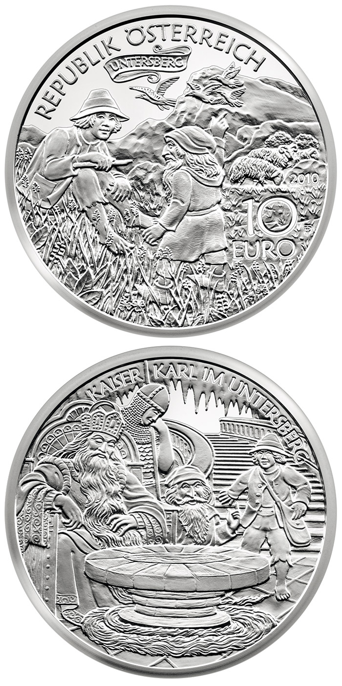Image of 10 euro coin - Charlemagne in the Untersberg | Austria 2010.  The Silver coin is of Proof quality.