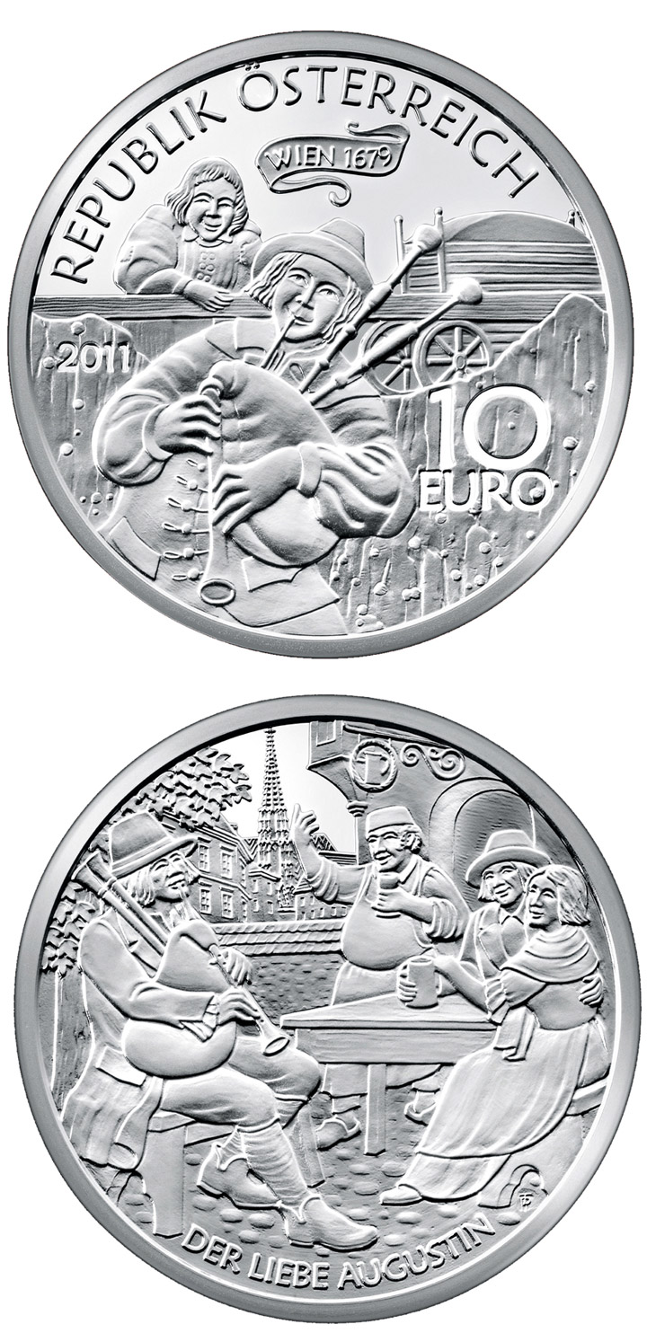 Image of 10 euro coin – Der liebe Augustin | Austria 2011.  The Silver coin is of Proof quality.