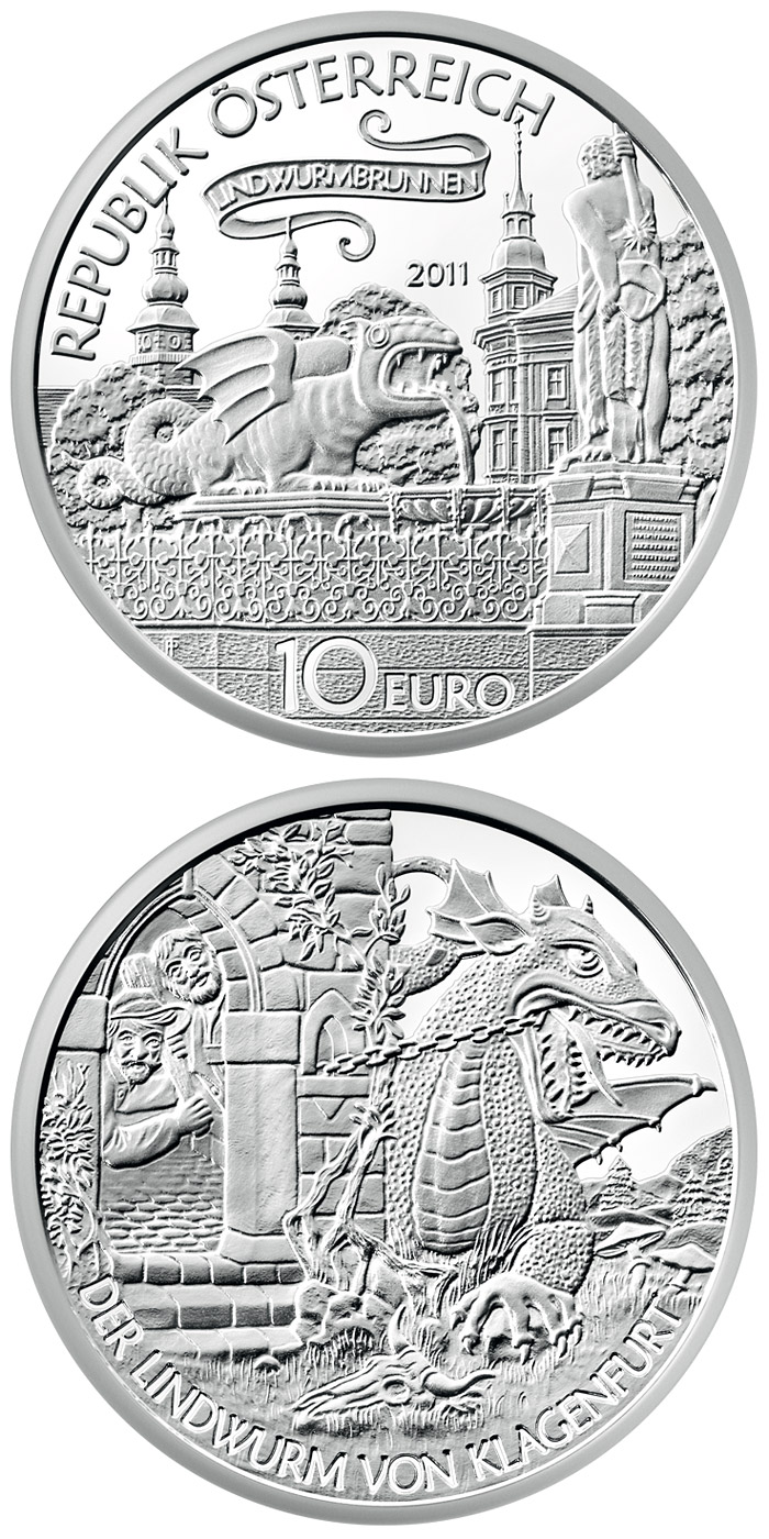 10 euro The Lindwurm in Klagenfutrt - 2011 - Series: Tales and Legends of Austria - Austria