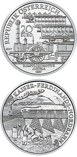 Image of Empirior Ferdinand's North Railway – 20 euro coin Austria 2007.  The Silver coin is of Proof quality.
