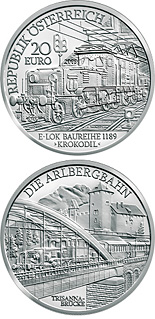 Image of 20 euro coin – The Electric Railway | Austria 2009.  The Silver coin is of Proof quality.