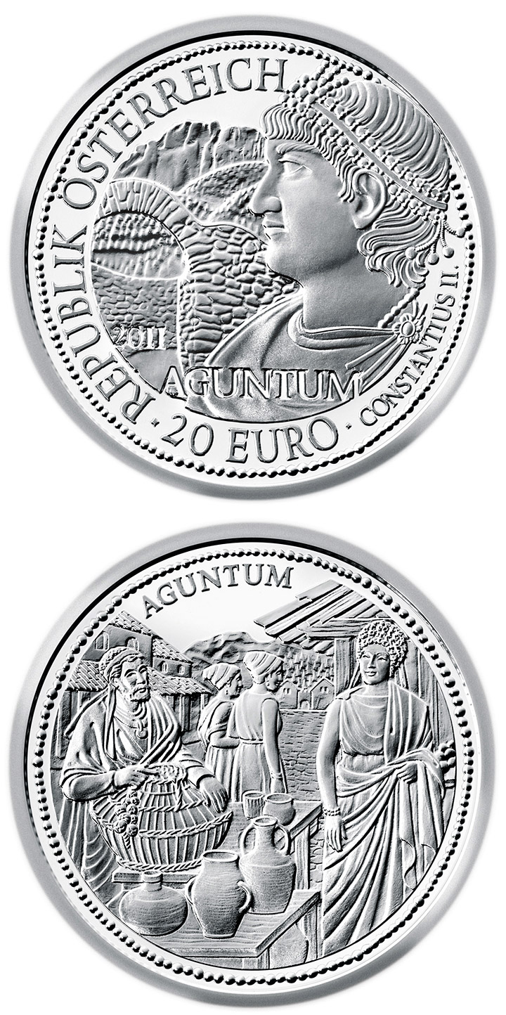 Image of 20 euro coin - Aguntum | Austria 2011.  The Silver coin is of Proof quality.