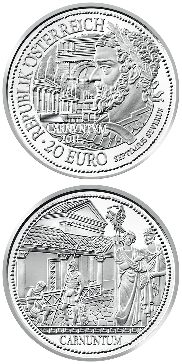 Image of 20 euro coin – Carnuntum | Austria 2011.  The Silver coin is of Proof quality.