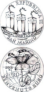 Image of 10 euro coin Welcome Euro | San Marino 2002.  The Silver coin is of Proof quality.