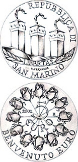 Image of 5 euro coin – Welcome Euro | San Marino 2002.  The Silver coin is of Proof quality.