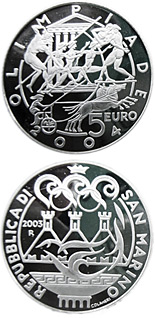 Image of 5 euro coin - Olympics | San Marino 2003.  The Silver coin is of Proof quality.