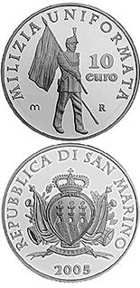Image of 10 euro coin – The uniformed militia of San Marino | San Marino 2005.  The Silver coin is of Proof quality.
