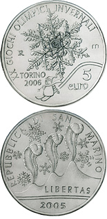 Image of 5 euro coin - Torino 2006 | San Marino 2005.  The Silver coin is of Proof quality.