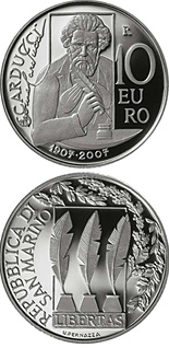 Image of 10 euro coin – 500th anniversary of Palladio's birth (Villa Poiana)  | San Marino 2007.  The Silver coin is of Proof quality.