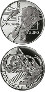 Image of 5 euro coin – 100th Anniversary of the death of Giosuè Carducci 1907-2007 | San Marino 2007.  The Silver coin is of Proof quality.