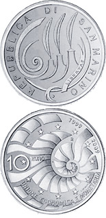 10 euro 10th Anniversary of introduction of European monetary union and euro - 2009 - Series: Silver 10 euro coins - San Marino