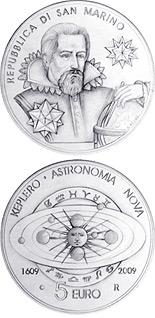5 euro 400th Anniversary of the compilation of Johannes Kepler's Astronomia Nova Treaty - 2009 - Series: Proof silver 5 euro coins - San Marino