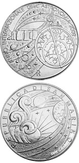 Image of a coin 5 euro | San Marino | International year of astronomy 2009 | 2009