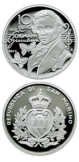 Image of 10 euro coin - 200th Anniversary of the birth of Robert Schuman | San Marino 2010.  The Silver coin is of Proof quality.